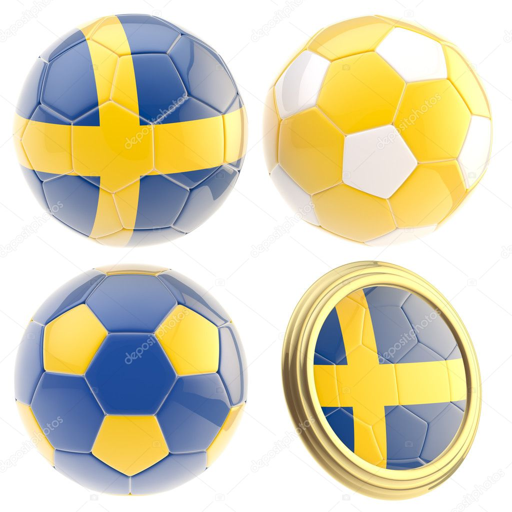 Sweden football team set of four soccer ball attributes isolated on white — Stock Photo #10051686