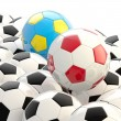 Pile of football balls as a background — Stock Photo