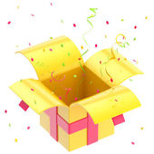 Gift box with ribbon, confetti isolated — Stock Photo