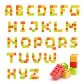 Alphabet set made of toy blocks isolated — Stock Photo