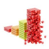 Collapse: ruined bar graph isolated — Stock Photo