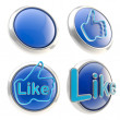 Set of four like buttons isolated — Stock Photo