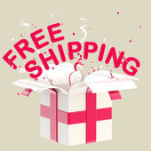"""Word """"free shipping"""" inside a gift box — Stock Photo"""
