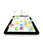 Mobilní podložka počítač s aplikací — Stock fotografie