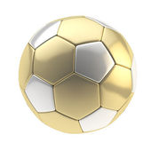 Gold and silver football ball isolated — Stock Photo