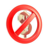 No cash sign as crossed dollar symbol — Stock Photo
