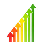Energy efficiency levels as growing arrows — Stock Photo