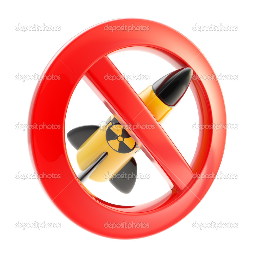 Nuclear war and radiation sign forbidden icon isolated on white — Stock Photo #10272119