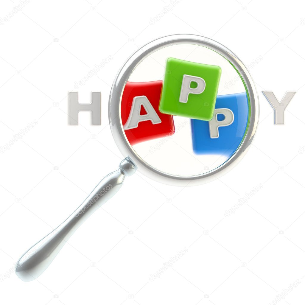 "App symbol under the magnifier as the part of word ""happiness"" isolated on white — Stock Photo #10453144"
