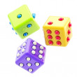 Set of three colorful glossy dices isolated - Stock Photo