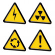 Danger: set of yellow triangle warning signs — Stock Photo