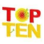 """Top ten sign with an """"o"""" as a dart target — Stock Photo #8903302"""