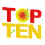 """Top ten sign with an """"o"""" as a dart target — Stock Photo"""