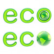 Stock Photo: Ecology eco emblem sign with a planet isolated