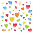 Stock Photo: Background made of colorful hearts isolated