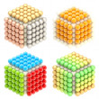 Abstract cube emblems made of spheres isolated — Stock Photo