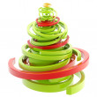 Abstract twirly glossy christmas tree isolated — Stock Photo