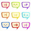 Royalty-Free Stock Photo: Set of nine text bubbles with smiles inside