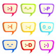 Stock Photo: Set of nine text bubbles with smiles inside