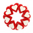 Abstract circle frame made of hearts isolated — Stockfoto