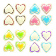 Set of colorful glossy plastic hearts isolated — Stock Photo #8904079