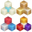Royalty-Free Stock Photo: Set of four colorful abstract cube compositions