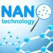 Nano technology blue glossy background - Stock Photo