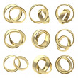 Wedding pair golden rings isolated — Stock Photo