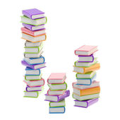 Pile of shiny colorful books, isolated — Stock Photo