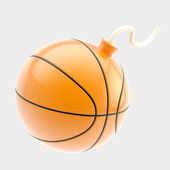 Glossy basketball ball as a bomb isolated — Stockfoto