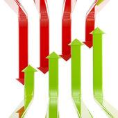 Parlak yeşil ve kırmızı oklar izole kümesi — Stok fotoğraf
