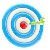 Aim and bull's-eye: dart thrown to exact center — Stock Photo