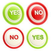 Yes and no glossy plastic buttons isolated — Stock Photo