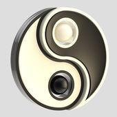 инь-ян баланса черно-белая эмблема изолированные — Стоковое фото