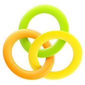 Abstract glossy emblem made of interlinked rings — Stock Photo