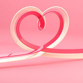 Abstract heart symbol made of ribbon — Stock Photo