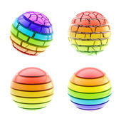 Set of four colorful segmented spheres isolated — Stock Photo