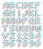 -z abecedy a čísla z kostek — Stock fotografie