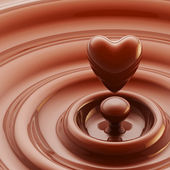Chocolate heart as a liquid drop background — Stock Photo