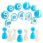 Social media blue glossy emblem — Stock Photo