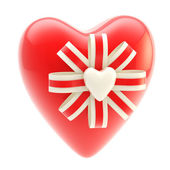 Red glossy heart decorated with bow — Stock Photo