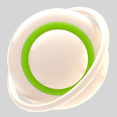 Blank green button isolated on grey — Stock Photo