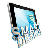 Flat pad screen as a smart design emblem — Stock Photo