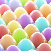 Easter day background made of glossy eggs — Stock Photo