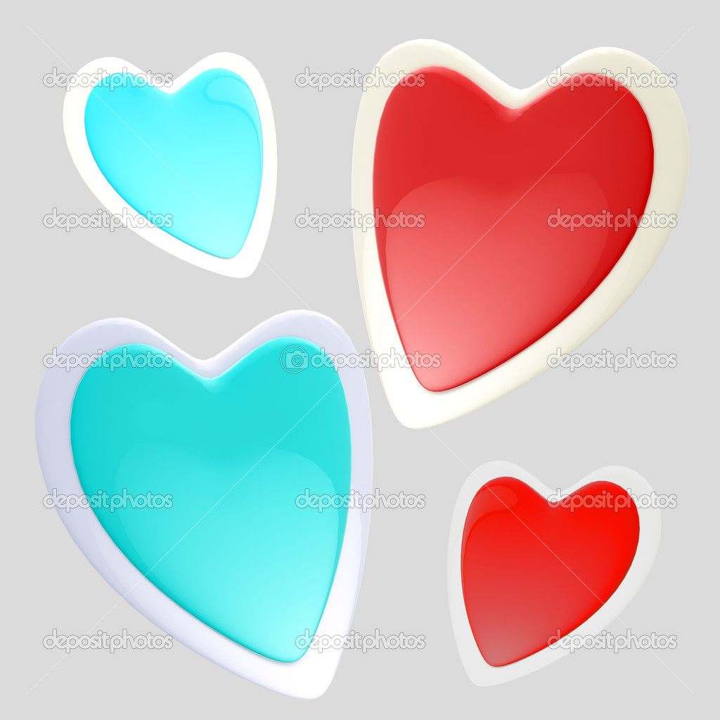 Set of four red and blue glossy hears isolated on grey  Stock Photo #8903397