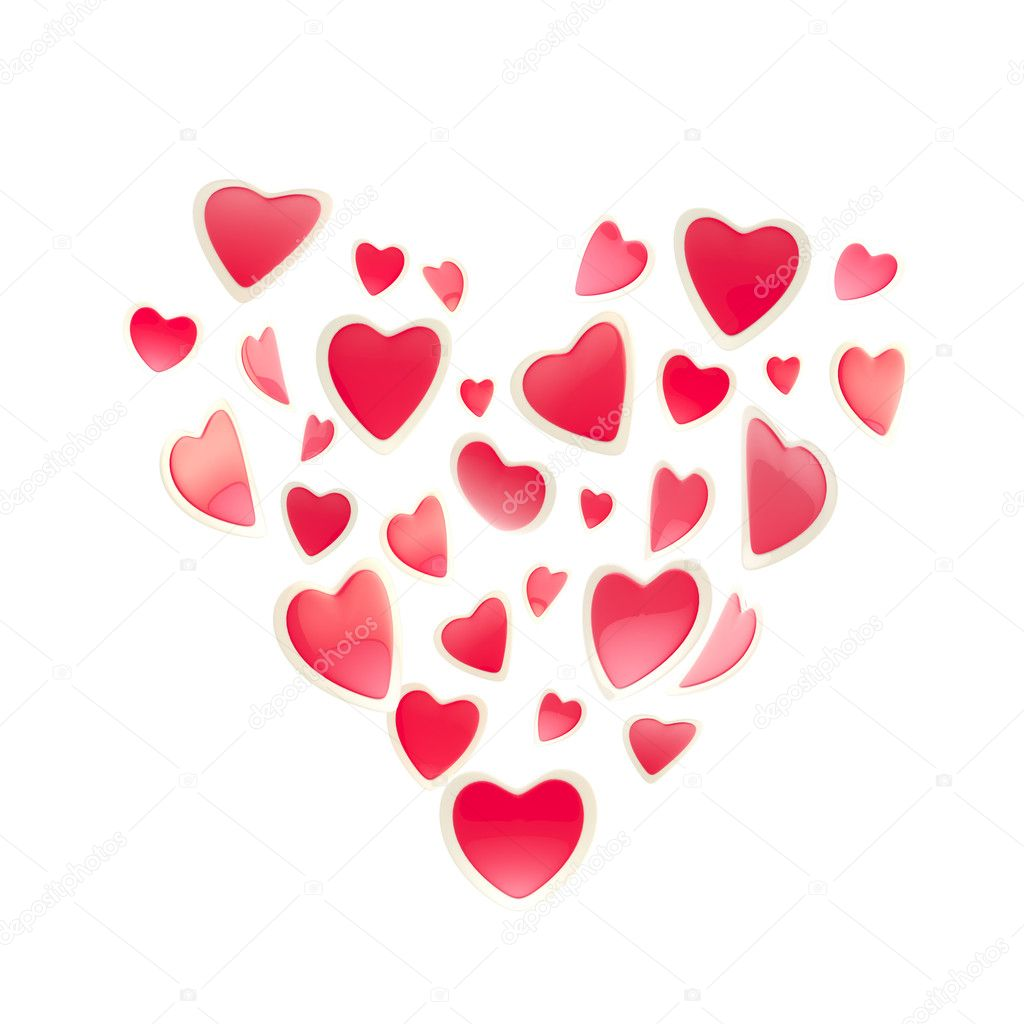 St. Valentine symbol made of bright glossy hearts isolated on white — Stock Photo #8903417