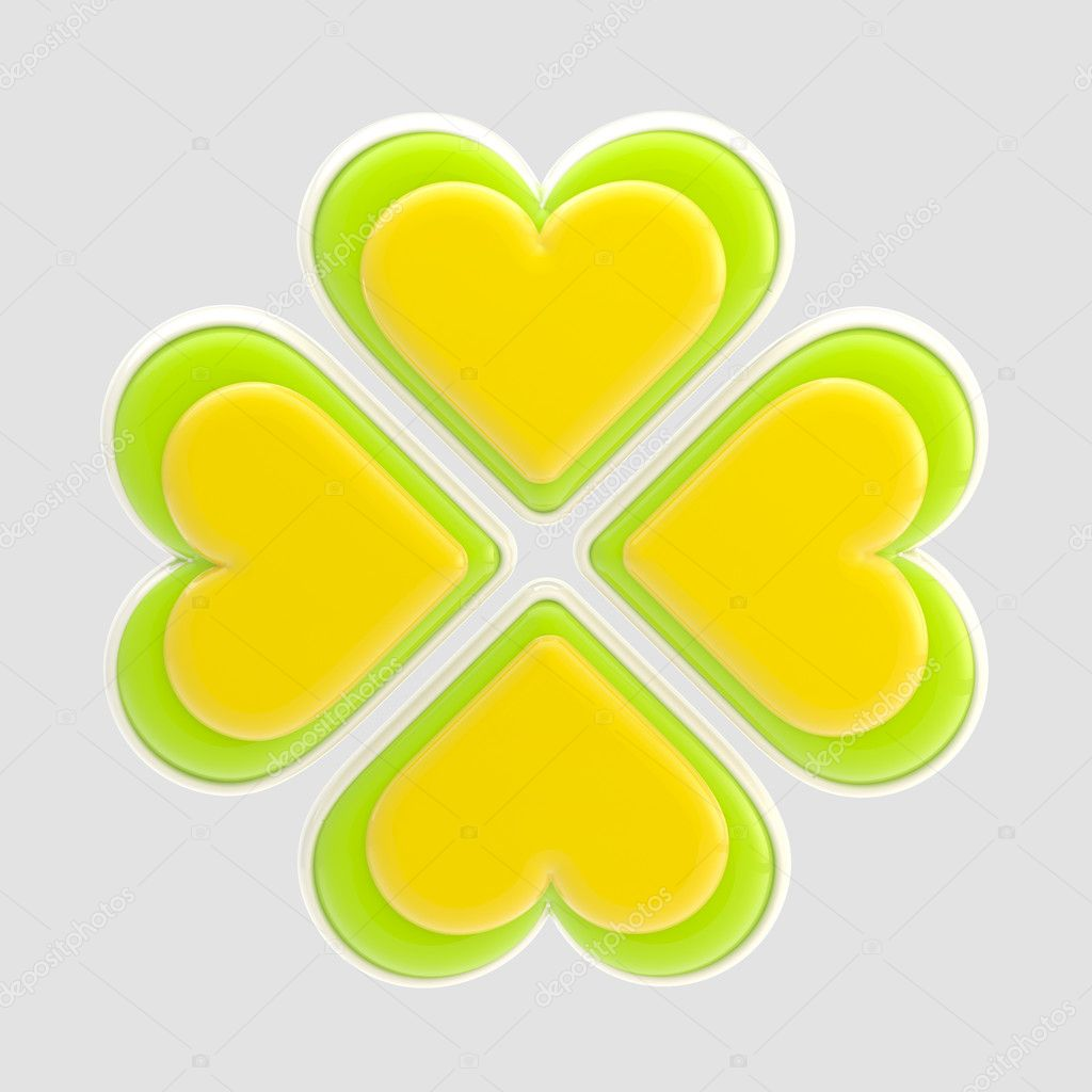 Luck symbol made of four green and yellow glossy hearts isolated on grey — Stock Photo #8903652