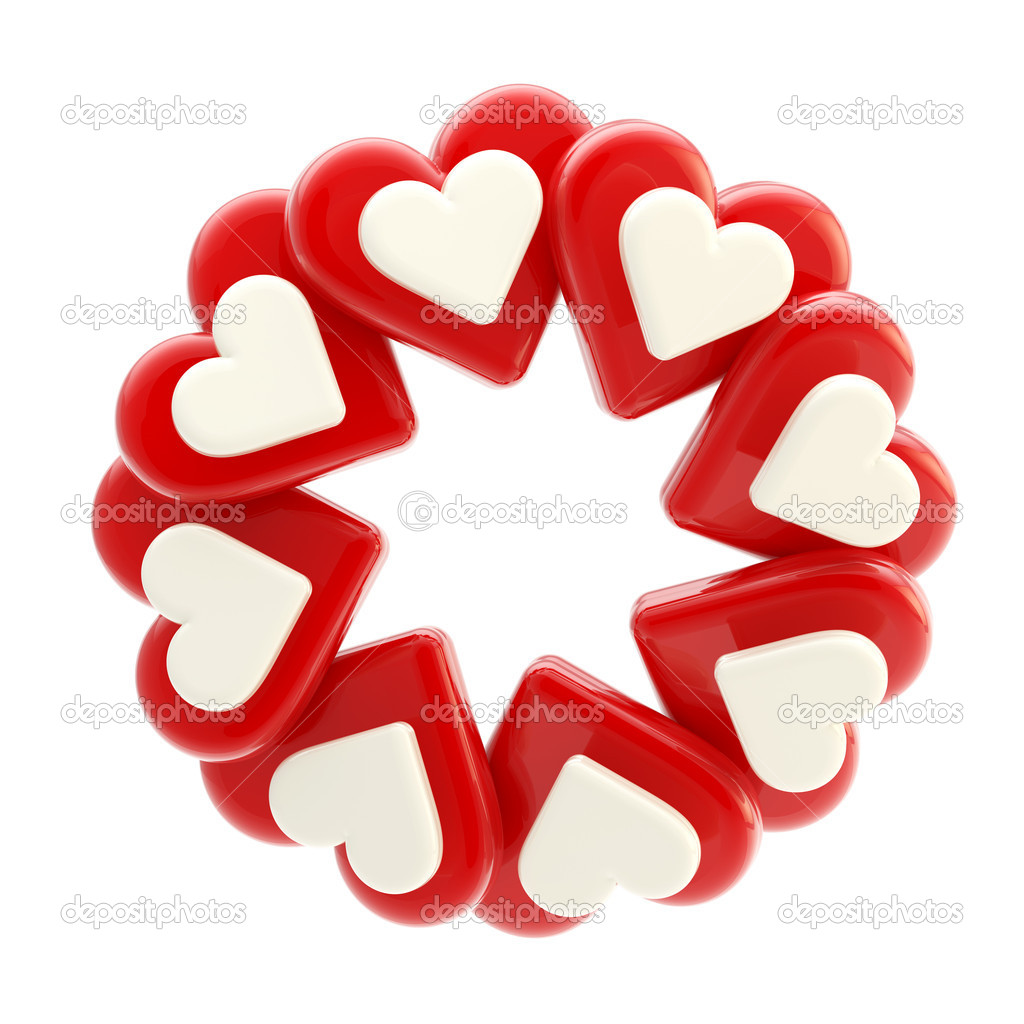 Abstract round glossy circle frame made of red and blue hearts isolated on white — Stock Photo #8903670