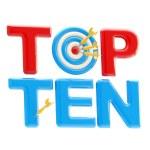 """Top ten sign with dart target as an """"o"""" — Stock Photo"""