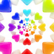Stock Photo: Abstract background made of glossy hearts